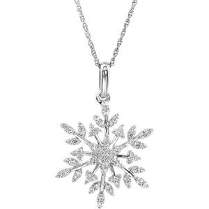 Cubic Zirconia Snowflake Necklace