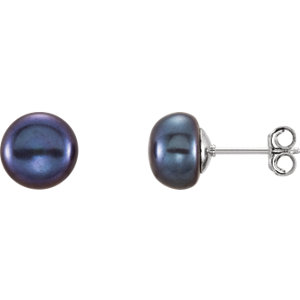Sterling Silver  -9mm Black Freshwater Aultured Pearl Earrings