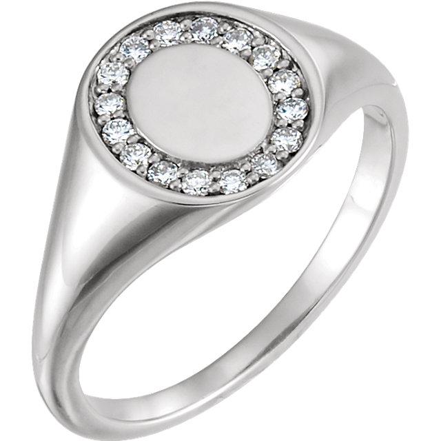 14kt White 1/6 CTW Diamond Signet Ring
