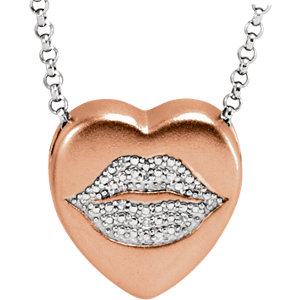 .02 CTW Diamond Lips Heart Necklace