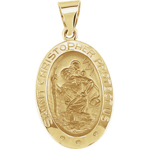 14kt Yellow 19x13.5mm Oval St. Christopher Medal