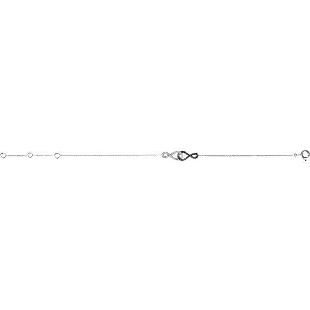 1/5 CTW Black & White Diamond Infinity-Inspired 5.75 - 6.75