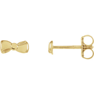 14K Yellow Bow Earrings