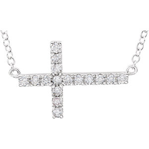Cubic Zirconia Sideways Cross Bracelet or Necklace