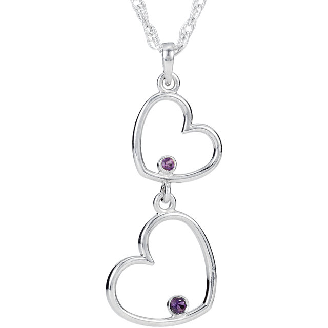 Sterling Silver Amethyst Double Heart 18