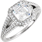 Asscher-Shaped Engagement Mounting or Matching Band