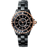 Ceramic Couture™ Ladies Rose Gold Immersion Plated & Black Watch