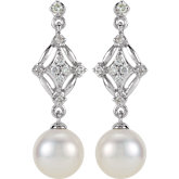 Freshwater Cultured Pearl and Diamond Earrings
