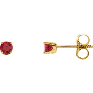14K Yellow Imitation Ruby Youth Earrings