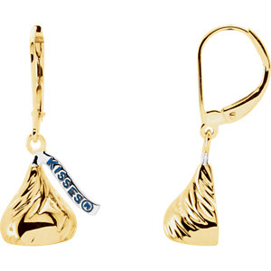 14kt Yellow HERSHEYS KISSES Flat Back Dangle Earrings