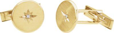 14kt Yellow .03 CTW Diamond Starburst Men's Cuff Links