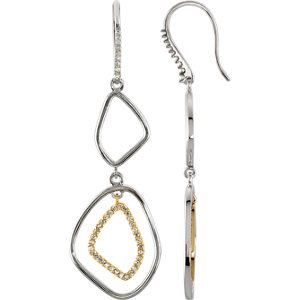Sterling Silver & 14kt<br> Yellow I1 Diamonds A/ <br> ATW Pair of Open<br> Silhouette Dangle<br> Earrings