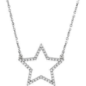 "14K White 1/4 CTW Diamond Star 16"" Necklace"