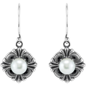 Sterling Silver  9.<br> x14.Amm Victorian Style<br> Earring Mounting for<br> Pearl