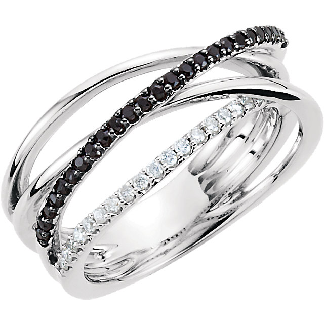 Sterling Silver Black Spinel & 1/6 CTW Diamond Ring
