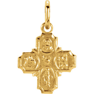 14kt Yellow 8x8mm Four-Way Cross Medal