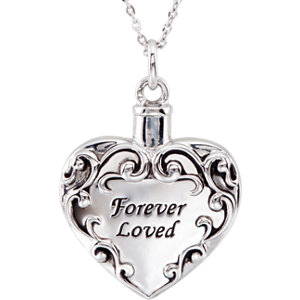"Sterling Silver Forever Loved Ash Holder 18"" Necklace"