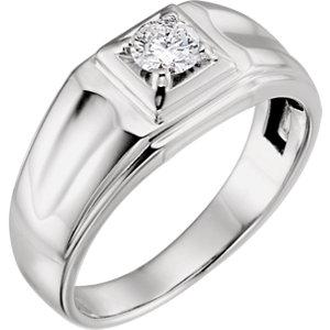 14K White 3/8 CTW Diamond Men's Ring