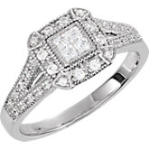 Halo-Style Princess Quad Center Cubic Zirconia Ring