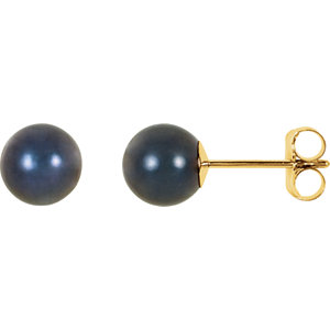 14kt Yellow 6mm Black<br> Akoya Aultured Pearl<br> Earrings