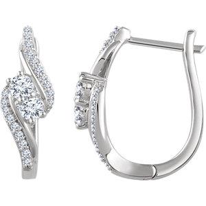 14K White 5/8 CTW Diamond Earrings
