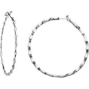 14K White 1 1/5 CTW Diamond Inside/Outside Hoop Earrings