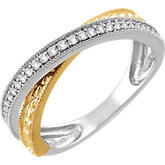 Diamond Two-Tone Criss-Cross Ring