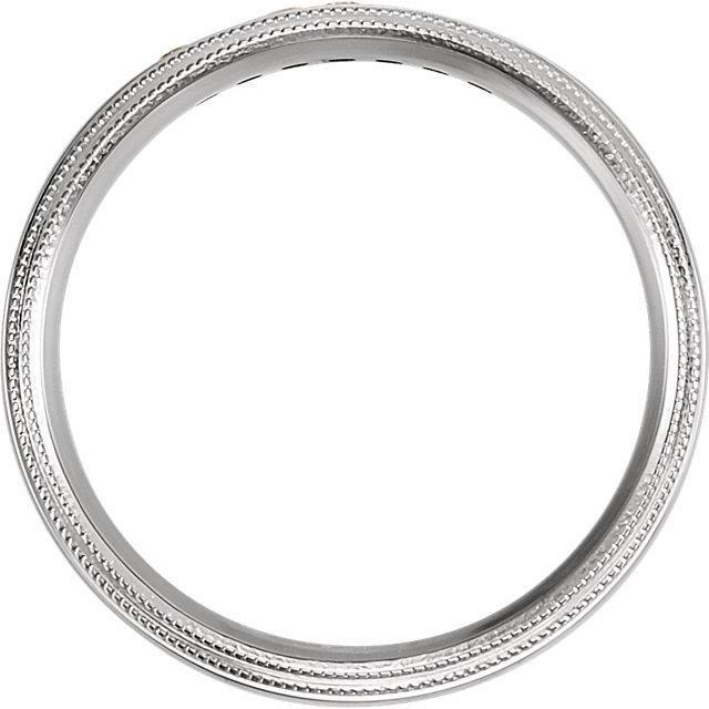 14K White 1/6 CTW Diamond 5mm Half Round Comfort Fit Double Milgrain Band Size 11