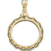Ribbon Filigree Screw Top Frame Pendant for 1/10 Ounce American Eagle or 1/10 Ounce South African Rand Coin