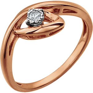 Sterling Silver and Rose Plated .04 CTW Diamond Promise Ring Size 7 Ref 650893