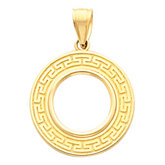 Tab Back Greek Key Frame Pendant for 1/10 Ounce American Eagle or 1/10 Ounce South African Rand Coin