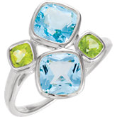 Genuine Sky Blue Topaz & Peridot Ring
