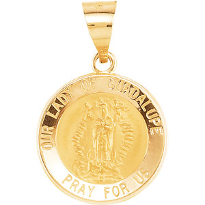 14kt Yellow 15mm Round Hollow Our Lady of Guadalupe Medal
