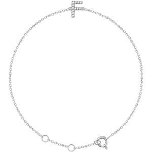 "14K White .05 CTW Diamond Initial ""F"" 6-7"" Bracelet"