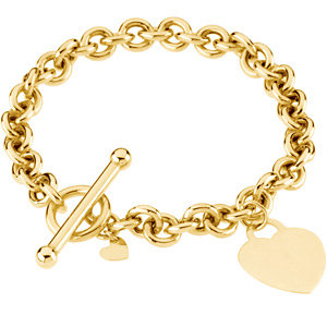 Rolo 6mm Toggle Bracelet with Heart Dangle