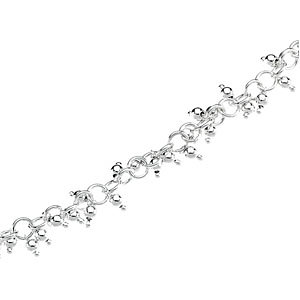 Sterling Silver Linked Ring Chain with Hanging Beads