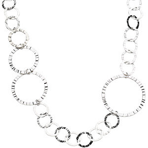 Sterling Silver Endless Grooved Circle Necklace