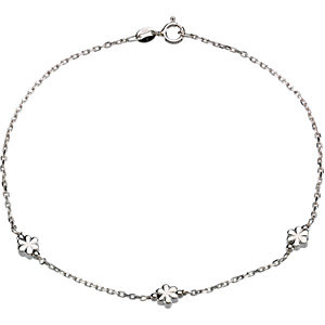 Sterling Silver Flower Anklet 3mm