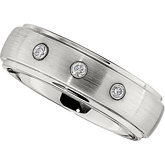 7.0mm Dura Cobalt™ 1/10 ct tw Diamond Band  with Satin Finish & Steel Bezels