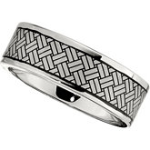 Dura Cobalt™ Band with Black Laser Woven Pattern