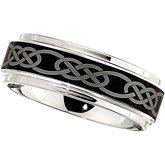 Dura Cobalt™ Band with Black Laser Celtic Knot Pattern