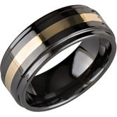 8.0mm Ceramic Couture™ Ridged Band with 14KT Yellow Inlay