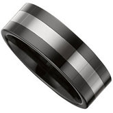 8.0mm Ceramic Couture™ Flat Band with Dura Tungsten®  Inlay