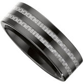 8.0mm Ceramic Couture™ Flat Band with Carbon Fiber Inlays