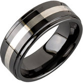 8.0mm Ceramic Couture™ Ridged Band with Sterling Silver Inlay