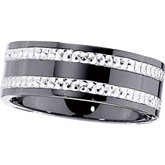 8.0mm Ceramic Couture™ Flat Band with Sterling Silver Inlay
