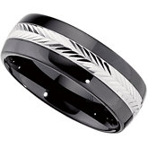 8.0mm Ceramic Couture™ Domed Band with Sterling Silver Inlay