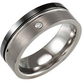 8.0mm Black Ceramic Couture™ & Dura Tungsten® .05 ct  Diamond Band