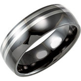 Ceramic Couture™ Domed Band with Dura Tungsten® Inlay