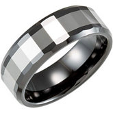 8.0mm Black Ceramic Couture™ Faceted Band with Dura Tungsten® Inlay